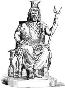 Serapis (AKA Sarapis); Egyptian god. From a statue found at Tivoli.