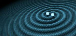 Generarea undelor gravitaţionale de către orbitarea reciprocă a două găuri negre.